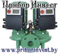 VeroTwin-DP-E Электронно регулируемый сдвоенный насос с сухим ротором в исполнении Inline, с фланцевым соединением и автоматической регулировкой мощности